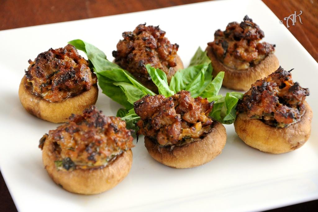 Sausage and Basil Stuffed Mushrooms | Lemon Savory